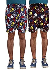 American-Elm Men's Multi Color Printed Shorts-Combo Of 2 (Large)
