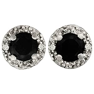 1/2ct Pave Style Black and White Diamond Stud Earrings set in Sterling Silver With Black Rhodium
