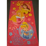 Disney Princess Pink Towel for the Beach Bath ~ Cinderella, Sleeping Beauty - Aurora & Belle