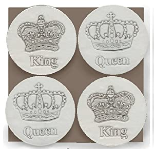 Stoneware Drink Coasters - Crown - Set of 4
