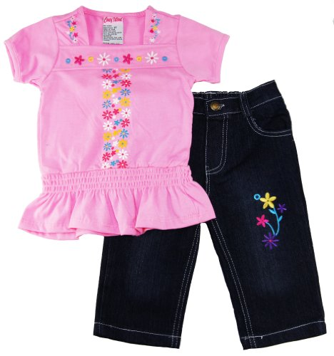 Coney Island Baby Girls Floral Ruffle Tee Shirt With Jeans Set 12M Pink front-882296