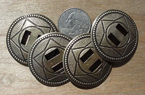 "Conchos 1 1/2"" Western Star Steel Antique Brass 25 Pcs"