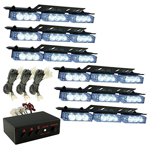 Orion Motor Tech 54 LED White Vehicle Emergency Warning Strobe Lights Deck Dash Grille 6 Bars (Police Blue White Lights compare prices)