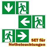 Ersatzschilder für LED Notbeleuchtung universal - Rettungszeichen - Fluchtweg -