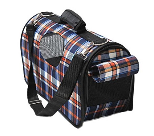 Woo2u Pet Puppy Carriers Zip Outdoor Home Travel Portable Grid Bag Navy Blue
