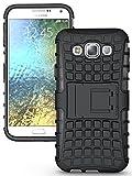 Cubix Defender Series Dual Layer Hybrid TPU + PC Kickstand Case Cover for Samsung Galaxy E5 (Black)
