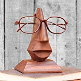 Classic Wooden Eyeglass Spectacle Holder Hand Carved Nose Shaped Display Stand Home Decorative Store Indya Gifts
