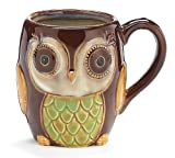 Chocolate Brown Owl Mug Porcelain 12 Ounces Coffee Tea Drink Gift