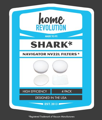 Shark Navigator Nv22L Home Revolution Brand Washable And Reusable Foam And Felt Replacement Filters 4Pk; Made To Fit Shark Navigator Models Nv22, Nv22C, Nv22L, Nv22Lc, Nv22P, Nv22T, Nv22Q, Nv22W; Made To Fit Shark Part # Xf22 - Crafted By Home Revolution