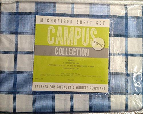 Campus Collection Softness & Wrinkle Resistant Twin Sheet Set - White/Blue Mathew Plaid nicole miller home kids twin sheet set fairies
