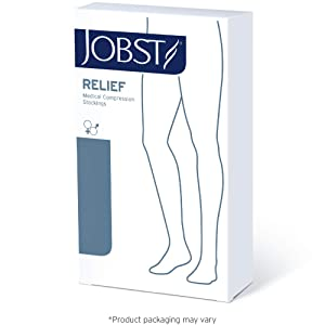 JOBST Relief Thigh High 15-20 mmHg Compression Stockings, Closed Toe with Silicone Dot Band, Small Petite, Beige (Color: Beige, Tamaño: Small Petite)