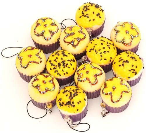 Ciondolo per cellulari squishy kawaii muffin giallo kawaii