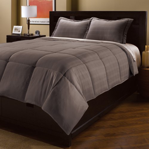 Aeolus Down Full/Queen Microfiber Dobby Plaid Comforter Mini Set, Smoked Pearl