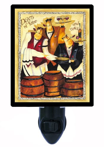 Night Light - Days Of Wine - Italian Chef And Wine - Waiters Led Night Light