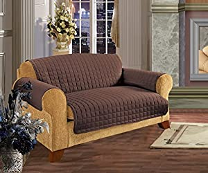 Elegance Linen Quilted Slip Cover for Sofa, Chocolate
