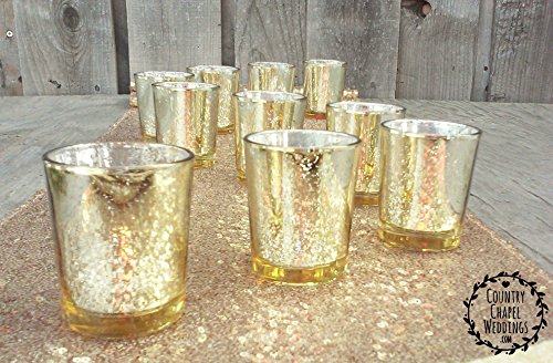 Gold Glittery Mercury Glass Votive Candle Holders (12)