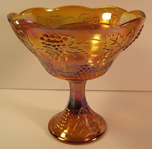 Carnival Glass Vintage Stemmed Fruit Bowl, 8 1/2 x 8 Inches Vintage Carnival Glass