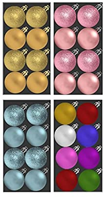 8 Christmas Baubles 4 Matt 4 Glitter Choice of Different Colours
