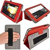 """igadgitz Rojo 'Portfolio' Eco-Piel Funda Case Cover para HP Slate 7 2800 2801 7"""" Android Tablet. Con Correa de mano integrado.+ Protector de Pantalla."""