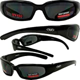 Chicago Foam Padded Sunglasses MATTE Black Frame Motorcycle Goggles Various Lens Options
