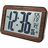 MARATHON CL030033WD Atomic Self-setting Self-adjusting Wall Clock w/ Stand - Wood Tone, Batteries Included