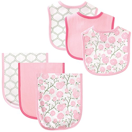 Hudson Baby 6 Piece Bib and Burp Cloth Set, Flowers - 1