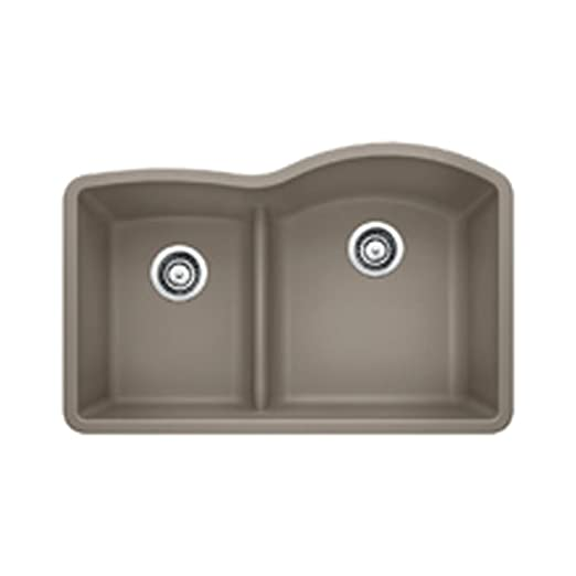 Blanco 441608 Diamond 1.75 Low Divide Under Mount Reverse Kitchen Sink, Large, Truffle