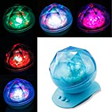 Colored LED Aurora Projector Ocean dynamic sleep Night Light Lamp Ocean Waves Projector Lamp with Music 8Modes projection for bedroom living room children's room bathroom Baby (Blue)