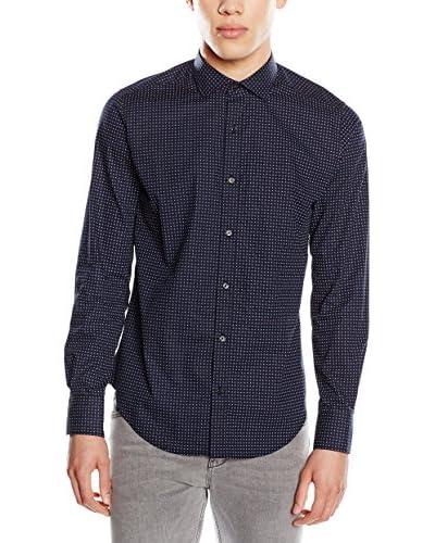 CORTEFIEL Camisa Hombre Osc Poin Azul Oscuro