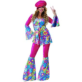 Amazon.com: Flower Power Hippie Adult Costume: Adult Sized