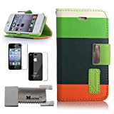 Lumsing� Premium Multi-Colour Smart Stand Hard Back leather Slim Wallet Style Protective Case PU Leather Flip Cover Protector Handbag for Apple iPhone 5 With Credit Card Holder and Strap Screen Protector Set