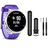 Garmin Forerunner 230 GPS Running Watch, Purple Strike - Black/White Watch Band Bundle