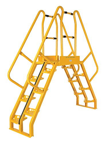 Vestil COLA-5-56-56 Yellow Alternating Cross-Over Ladder, 134