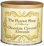 The Peanut Shop of Williamsburg Chocolate Covered Almonds, 12-Ounce Tins (Pack of 2)