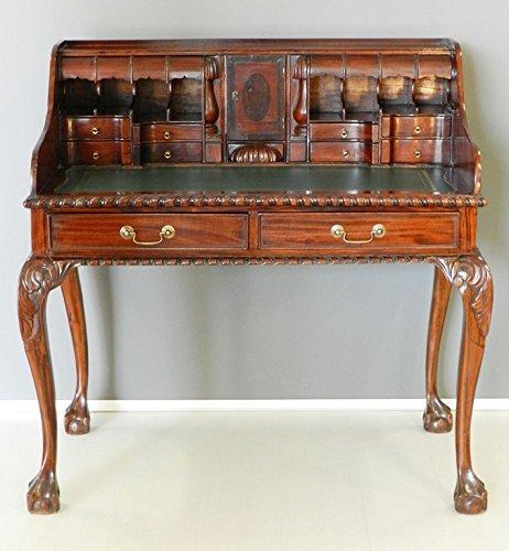 Scrittoio scrivania Lady secretaire in legno massello e piano in pelle verde