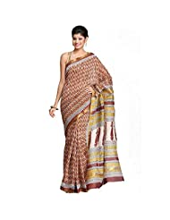 Stylish White Maheshwari Saree With A Quirky Mustard & Brown Hand Block Print & A Gold Zari Temple Border