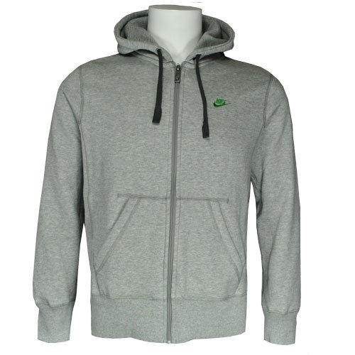 Nike Hooded Full Zip Fleece Sweatshirt Top Hoody Light-Grey/Green Mens Size L