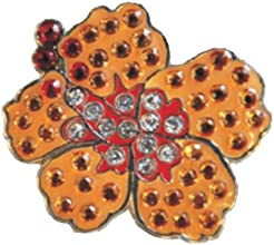 Orange Hibiscus Ball Marker Accented by Genuine Swarovski Crystals with Magnetic Hat Clip