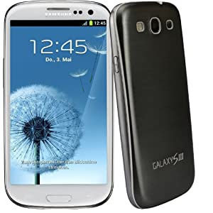 xubix Full Metal Akkudeckel für Samsung i9300 Galaxy S3 Grau Grey brushed Metall Aluminium mit dezent weißem Rand