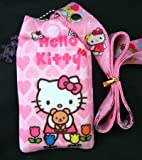 Hello Kitty Lanyard with Bonus iPod/Cell Phone Sock (Pink heart & Flowers)