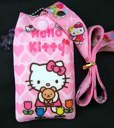 hello kitty phone sock. Hello Kitty Lanyard with Bonus iPod/Cell Phone Sock (Pink heart & Flowers)