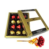 Unique Combination Of Wrapped Chocolates With 24k Red Gold Rose - Chocholik Luxury Chocolates