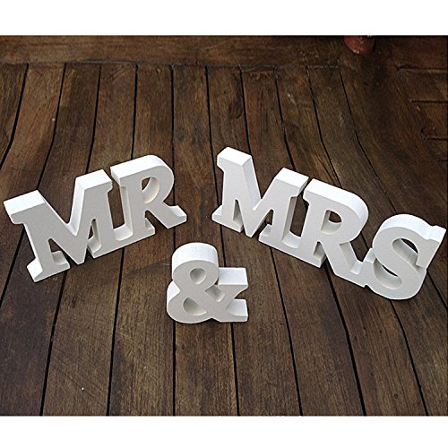 3 Piece White Wood Wedding Ornament Set / Decorative Mr & Mrs Tabletop Alphabet Word Statues - MyGift®