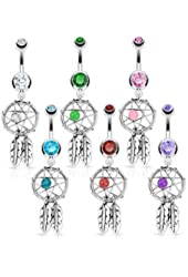 High Quality 316L Surgical Steel Dream Catcher Woven Star Design with Bead and Feathers Fancy Navel Ring
