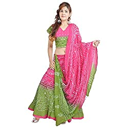 Pezzava Cotton Bandhej Lehenga Choli For Womens