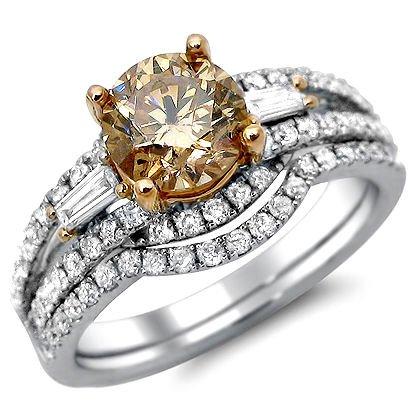 1.90Ct Brown Round Diamond Engagement Ring Set 14K Rose White Gold