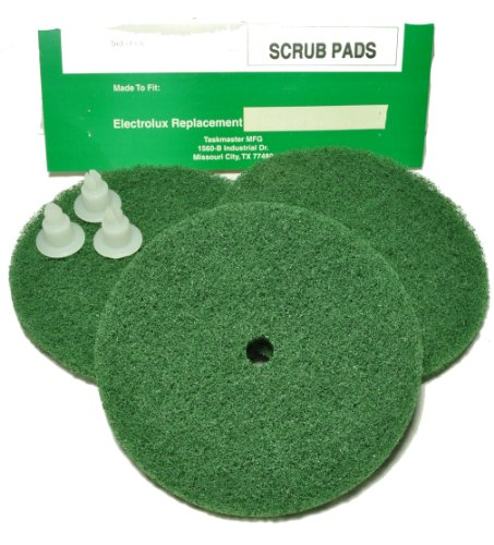 Electrolux Shampooer/Floor Polisher Green Scrub Pads, Taskmaster Replacement Brand, designed to fit all 3 Rotary Brush Electrolux Floor Polishers, 3 pads with snaps in pack
