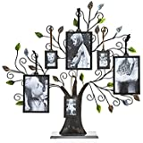 Philip Whitney Bronze Family Tree With Green Leaves And Six Photo Frames