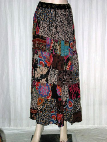 Fashion Skirts- Smoky Black Wide Patchwork Long Gypsy Hippie Tiered Skirt Free Shipping