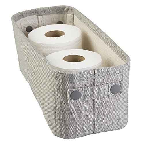 mDesign Cotton Fabric Bathroom Storage Bin for Magazines, Toilet Paper, Bath Towels - Small, Light Gray (Storage Baskets Small compare prices)